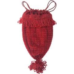 20s Red Beaded Drawstring Handbag