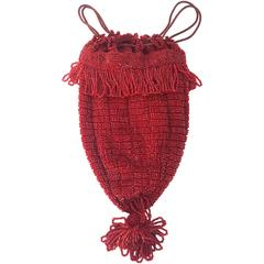20s Red Beaded Drawstring Handbag