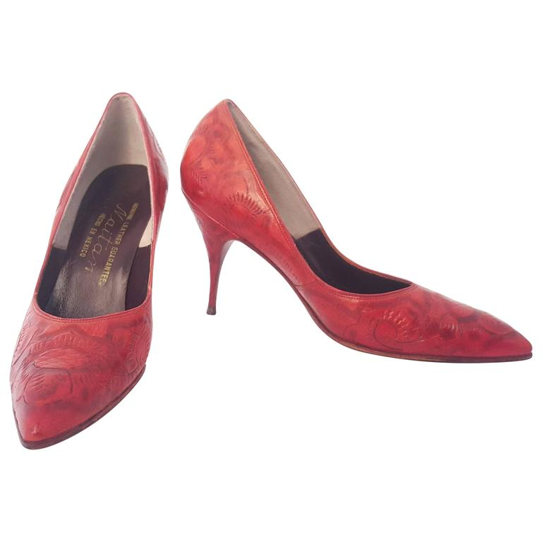 50s Red Mexican Hand-Tooled Leather Heels