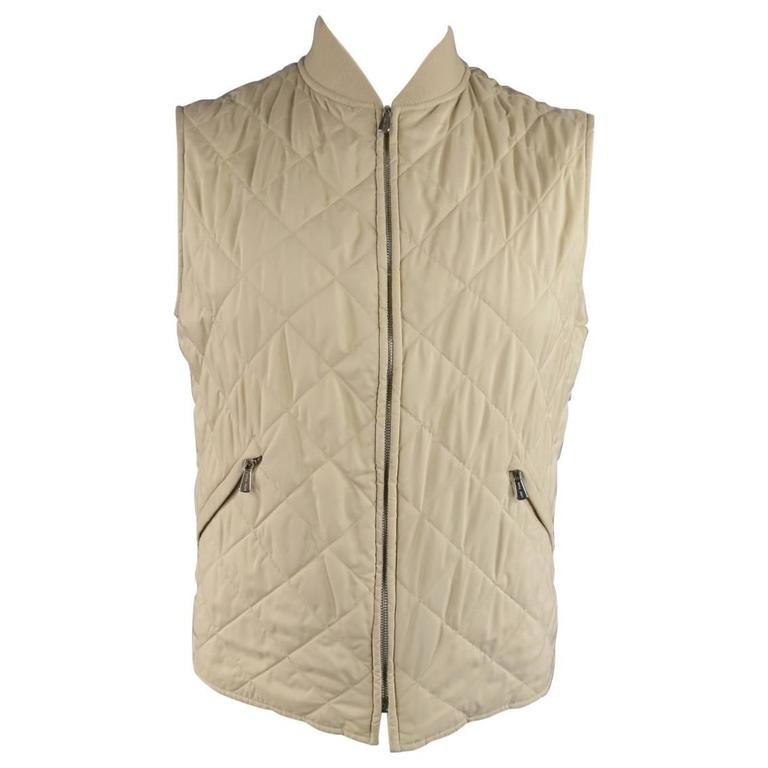 Men S Loro Piana 40 Light Beige Quilted Polyester