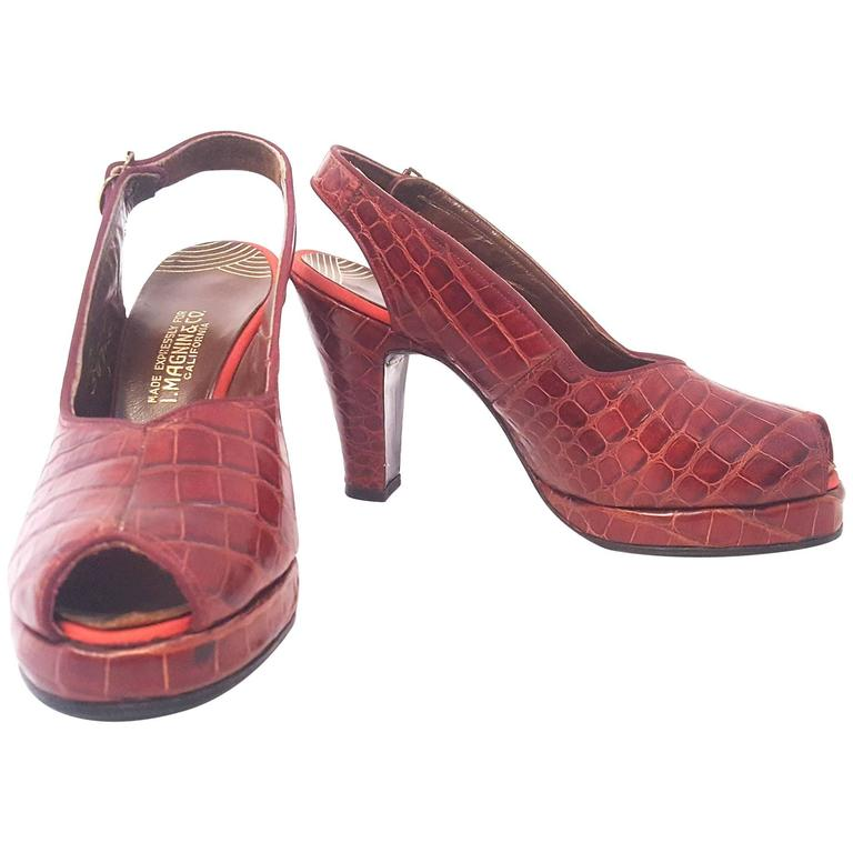 40s Red Alligator Peeptoe Platform Heels