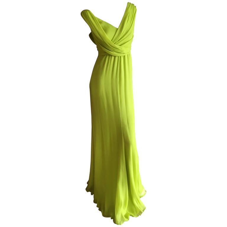 Oscar de la Renta Neon Green Silk Chiffon Goddess Gown For Sale