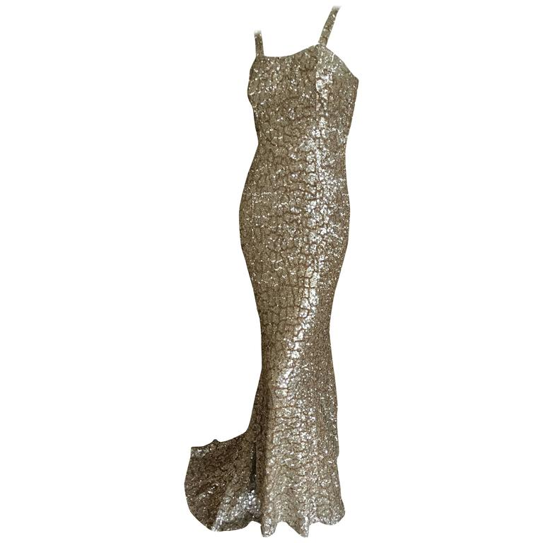 Monique Lhuillier Gold Sequin Mermaid Gown with Train 1
