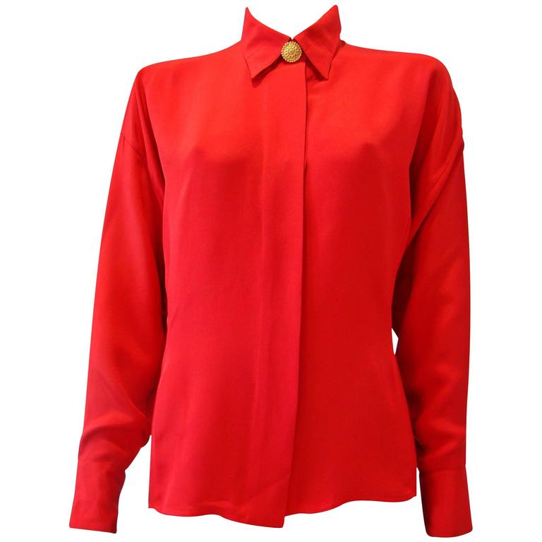 Gianni Versace Couture Red Silk Shirt 1