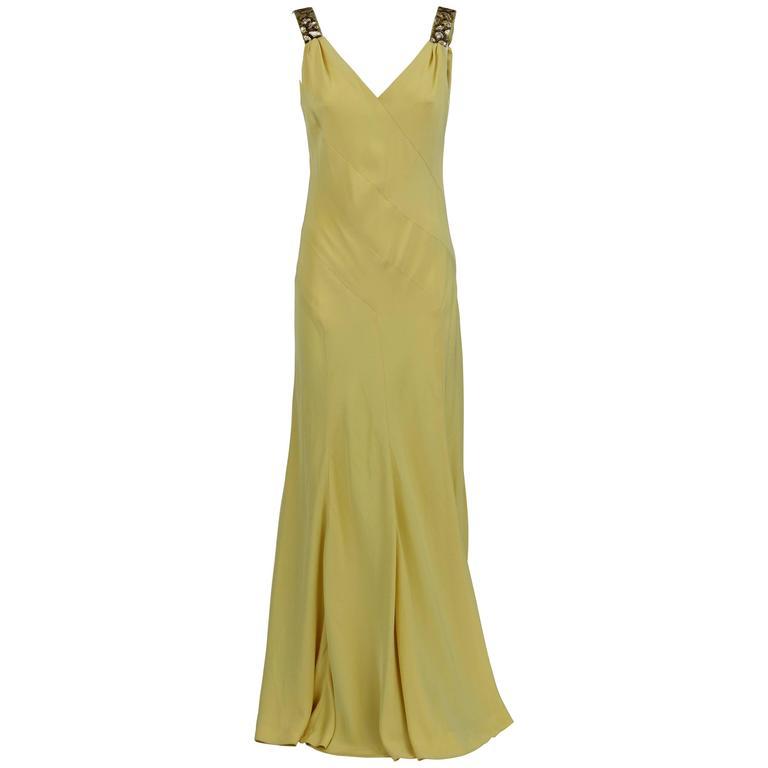 1980S Artisanal Yellow Long Dress