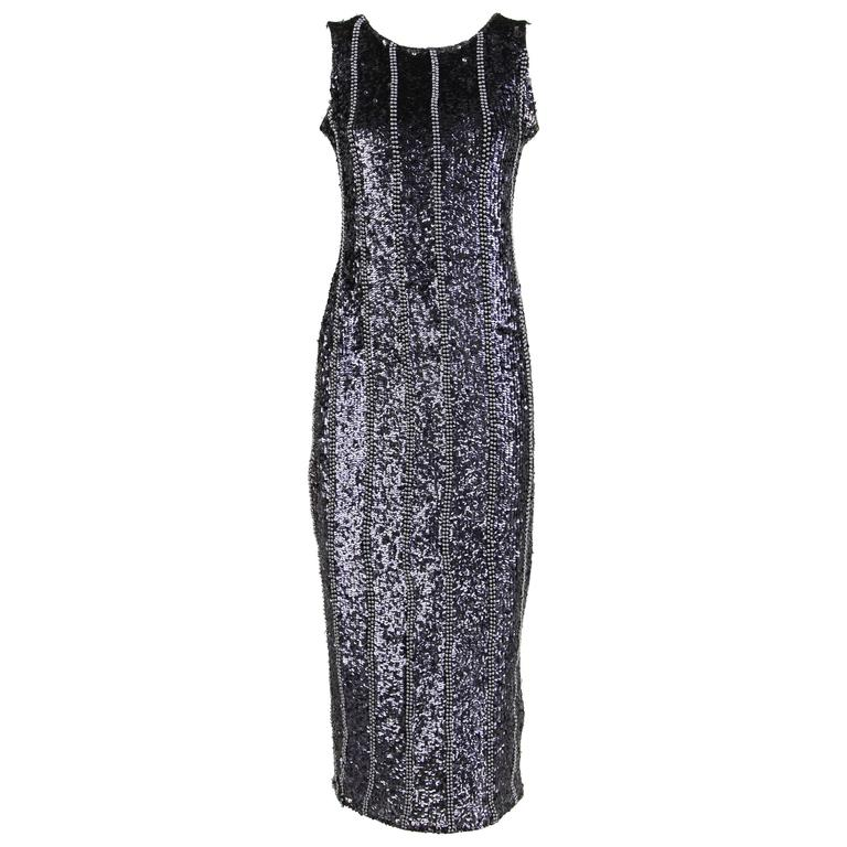 1980s black and silver sequined evening dress for sale at