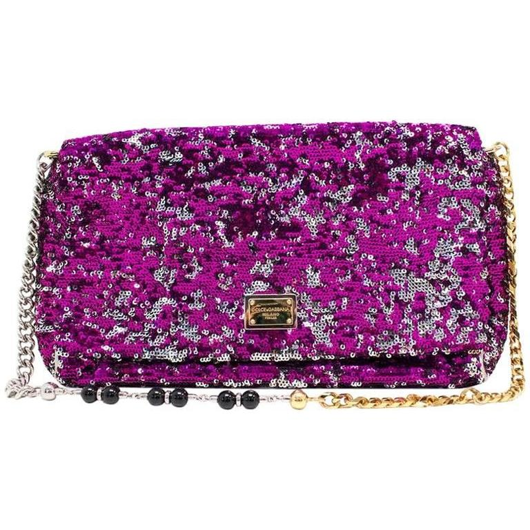 7b99806563 Dolce and Gabbana  Miss Charles  Sequin Flap Bag For Sale at 1stdibs