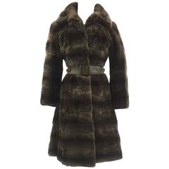 "1970s Maxwell Croft Bespoke Brown ""Fisher Dyed"" Bassarisk Fur and Leather Coat"