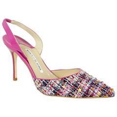 New Manolo Blahnik Multi Tweed and Pink Heels - 36.5