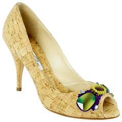 Oscar de la Renta Tan Cork Heels with Stones - 36