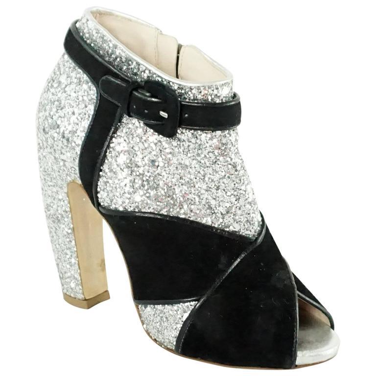 Miu Miu Silver Glitter and Black Suede Asymmetrical Booties - 36