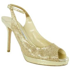 Jimmy Choo Gold Glitter Slingbacks - 36.5