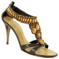 Giuseppe Zanotti Bronze Stone Sandals - 39.5