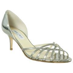 Jimmy Choo Deep Silver Leather d'Orsay Heels - 39