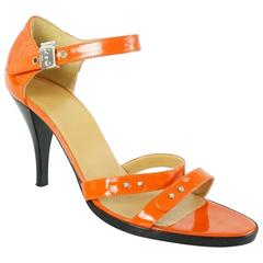 Hermes Orange Patent Strappy Sandals - 36.5