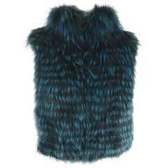 Elie Tahari Teal and Black Fox Fur Vest - Small