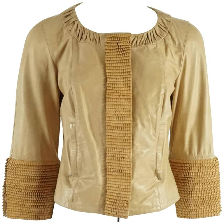 3994cbc9 Fendi Tan Leather Jacket with Fringe Detail w/ Bracelet Sleeve - 40