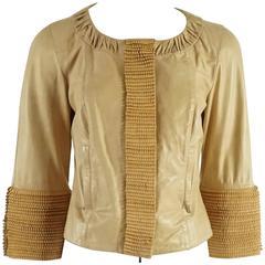 Fendi Tan Leather Jacket with Fringe Detail w/ Bracelet Sleeve - 40