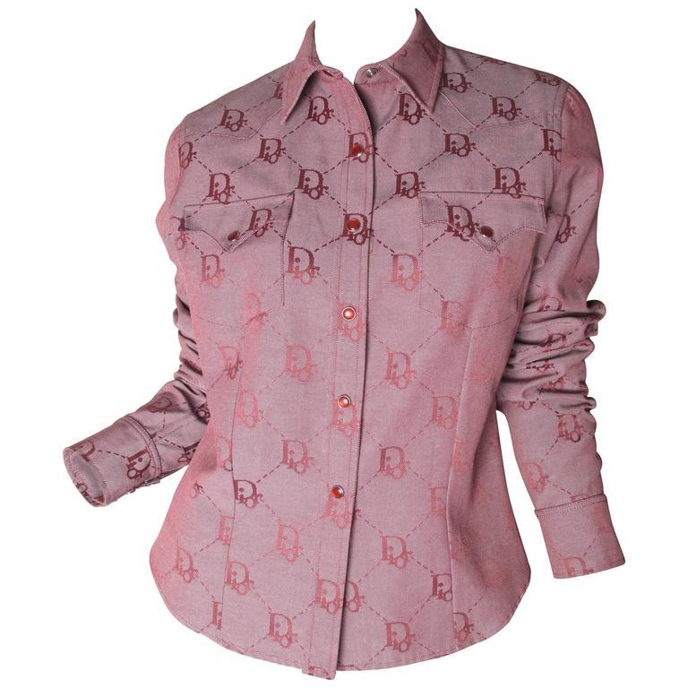 Christian Dior Logo Cowboy Shirt  For Sale