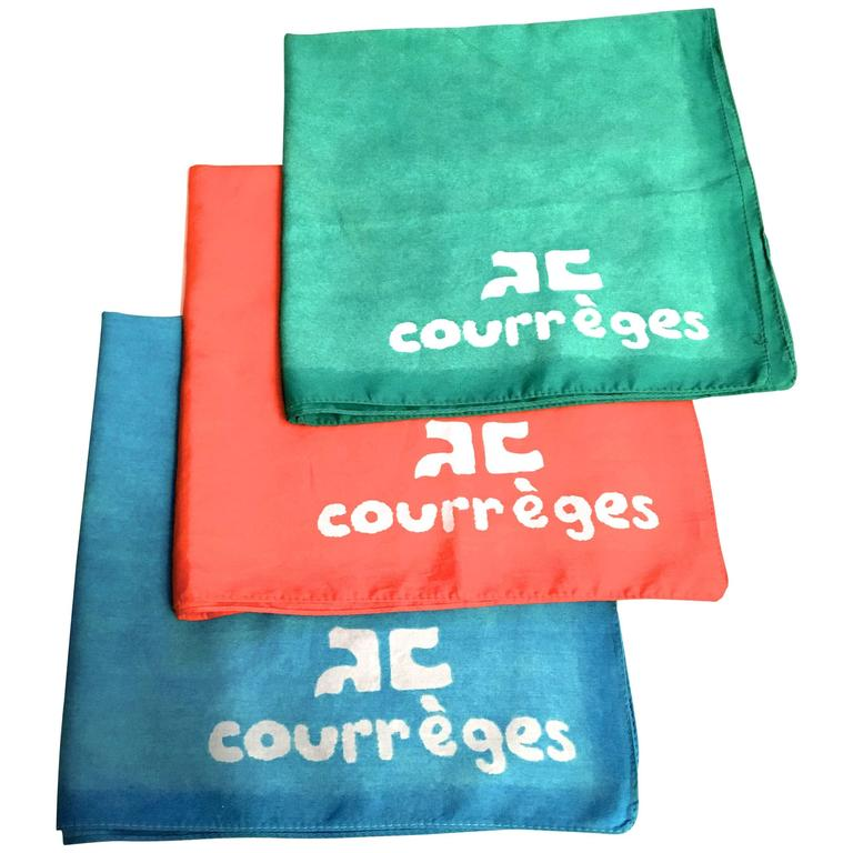 Rare Courreges Set of 3 Scarves - 100% Cotton - Late 1960's