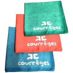 Rare Courreges Set of 3 Scarves - 100% Cotton - Late 1960's