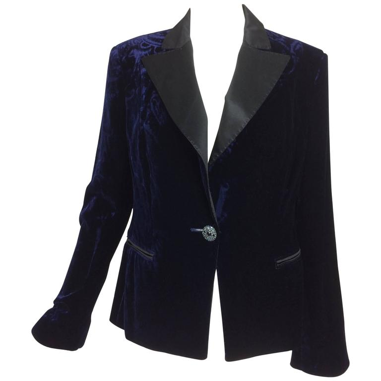 Feraud ink blue embossed velvet tuxedo style jacket