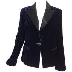Feraud ink blue embossed velvet tuxedo style jacket
