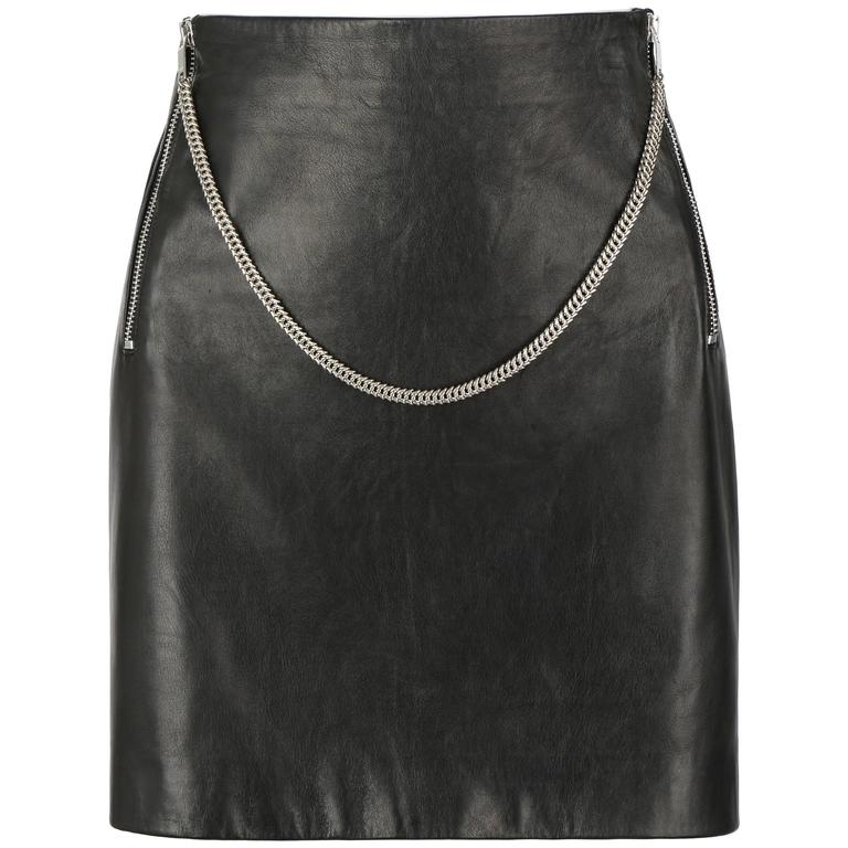 SAINT LAURENT c.2012 Black Lambskin Leather Silver Chain Zipper Mini Skirt