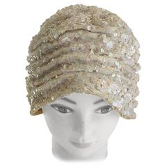 1930/40s White Sequin Cloche Hat