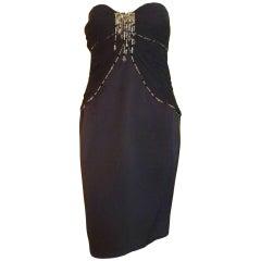 Superb Escada Black Beaded Silk Strapless Cocktail Dress (40 D)