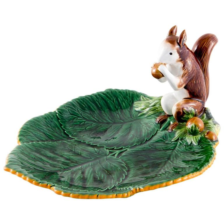 Rare Christian Dior French Hand-Painted Barbotine Squirrel Platte For Sale
