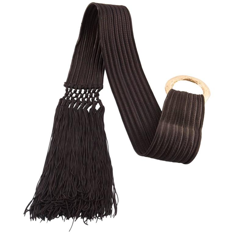 Gorgeous Saint Laurent Chocolate Braided & Fringed  Belt For Sale