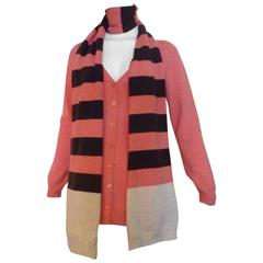 Escada Sport Virgin Wool Cardigan with Striped Scarf