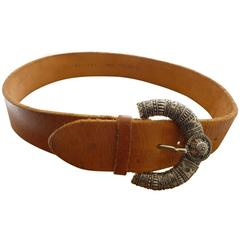 Orciani Tan Leather Belt with Impressive Silver Tone Buckle