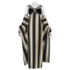 Galanos Black And White Stripe Gown And Shawl
