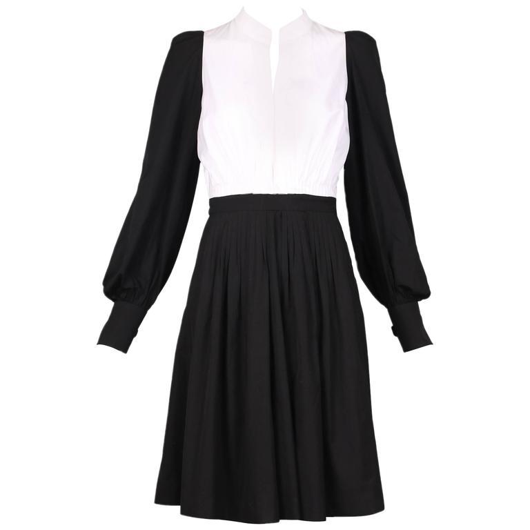 Yves Saint Laurent YSL Black & White Color Block Cotton Day Dress