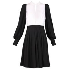 Yves Saint Laurent YSL Black & White Color Block Cotton Day Dress