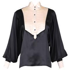 Vintage Black & White Silk Tuxedo Blouse Top Shirt