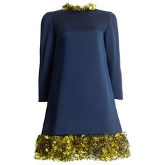 Couture blue silk mini dress adorned with circular mirrored disks, circa 1960s