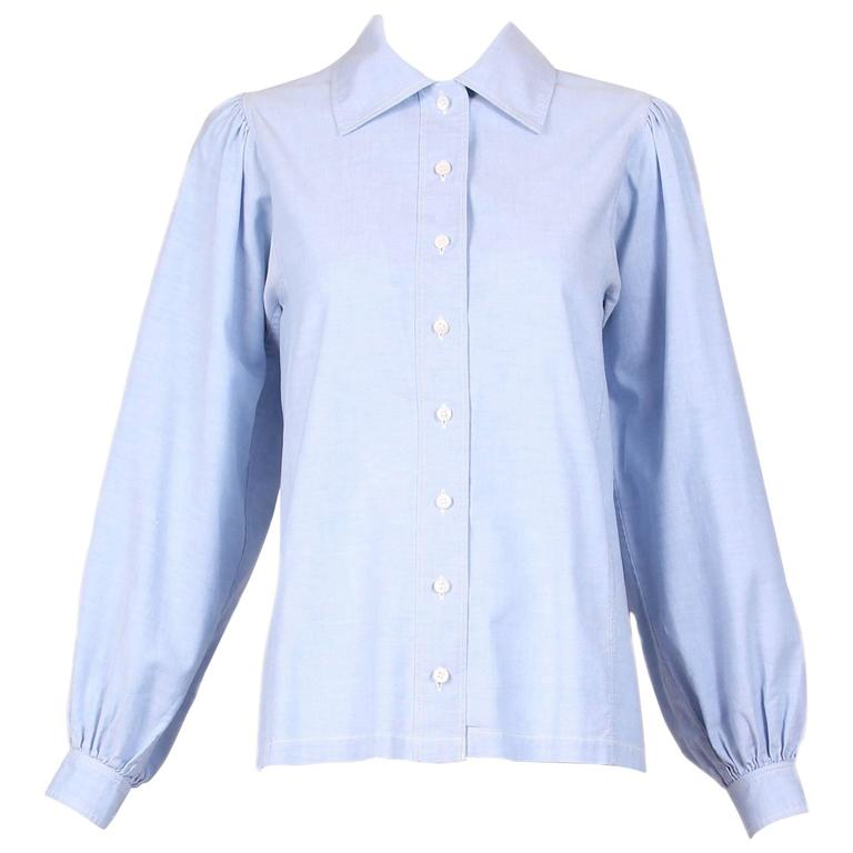 1970's Yves Saint Laurent YSL Chambray Button Down Shirt Blouse For Sale