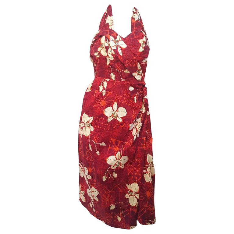 50s Alfred Shaheen Red Printed Cotton Tiki Dress