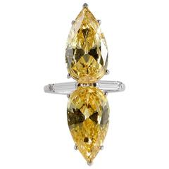 Art Deco Style Double Faux Pear Canary  Diamond Ring