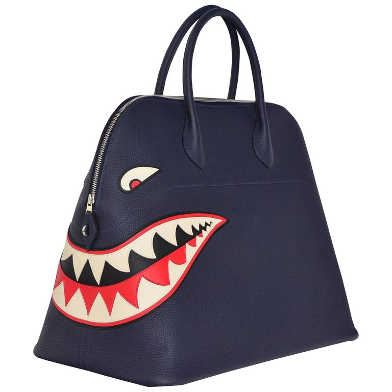 Hermes Limited Edition Shark Bolide 45  Handbag Bleu INDIGO UNISEX   NEW  1