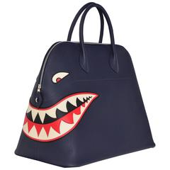 Hermes Limited Edition Shark Bolide 45  Handbag Bleu INDIGO UNISEX   NEW