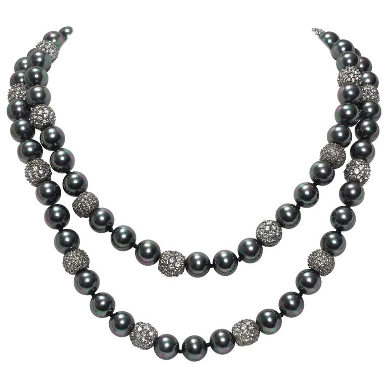 Faux Tahitian 12 MM Pearl Diamond Long Rope Necklace 1