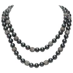 Faux Tahitian 12 MM Pearl Diamond Long Rope Necklace