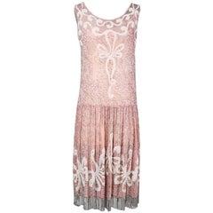 Pink Chiffon Beaded Shift Dress circa 1930s