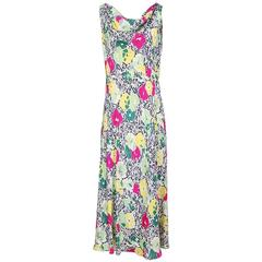 Floral Print Silk Dress circa 1940s