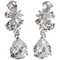 Magnificent Costume Jewelry Large Diamond Earrings