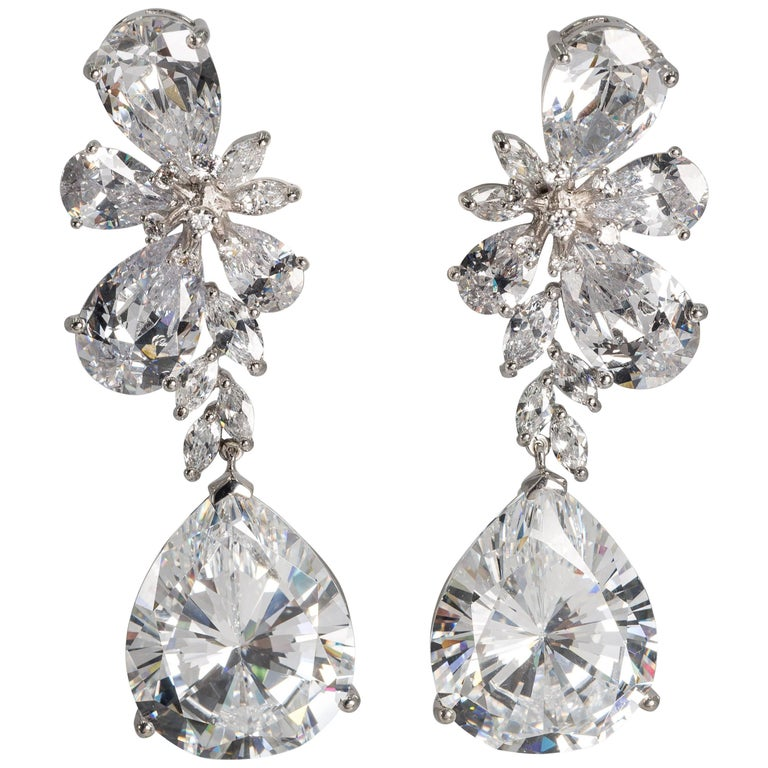 Magnificent Costume Jewelry Large Diamond Earrings For
